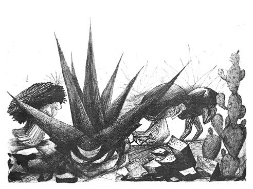 Mexican Workers-Maguayes y  Nopales (Mexican Landscape)